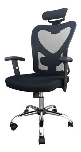 Imagen 1 de 3 de Silla de escritorio Desillas kepler ergonómica  negra con tapizado de tela y mesh