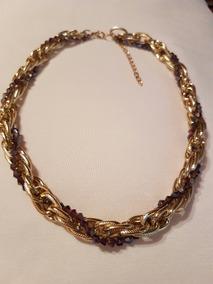 Colar Gargantilha Dourado Trancado Com Pedras Feminino Moda
