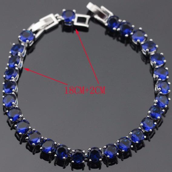Pulseira Bracelete De Prata 925 Pedras Safira Sintética Aaa