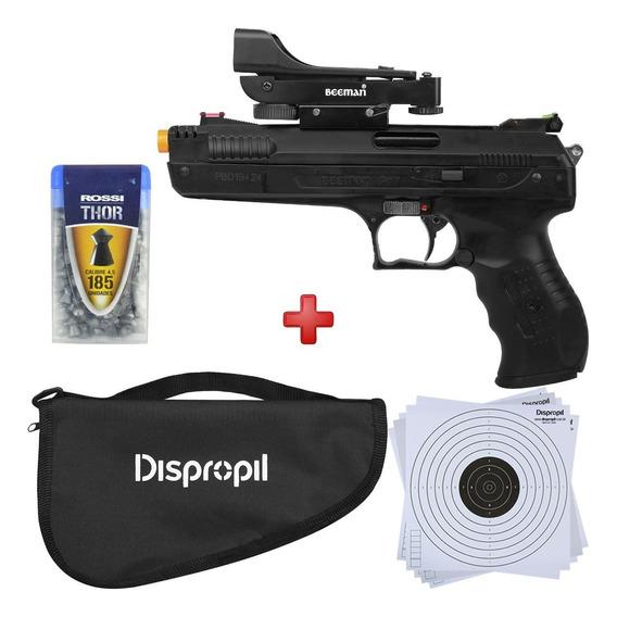 Pistola Pressão Chumbinho Beeman 4.5 Mira Holográfica + Kit