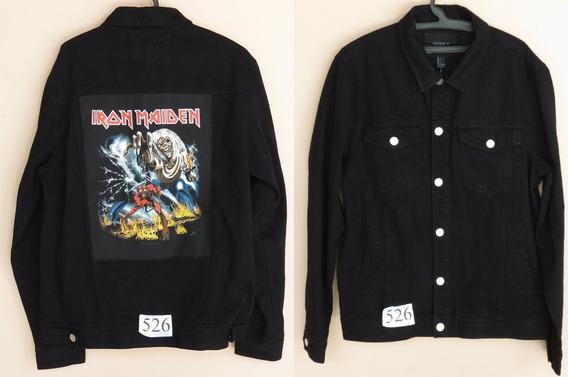 Jaqueta / Colete Jeans Com Patch Iron Maiden - G Masc J526