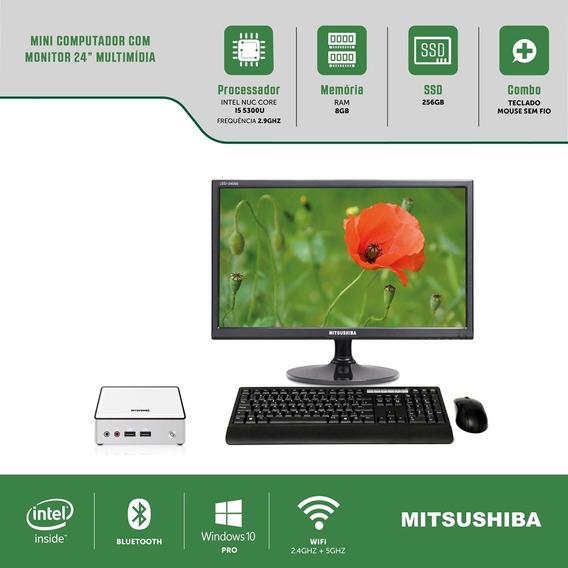 Mini Computador Com Monitor Multi 24 Nuc I5 8g Ssd256g