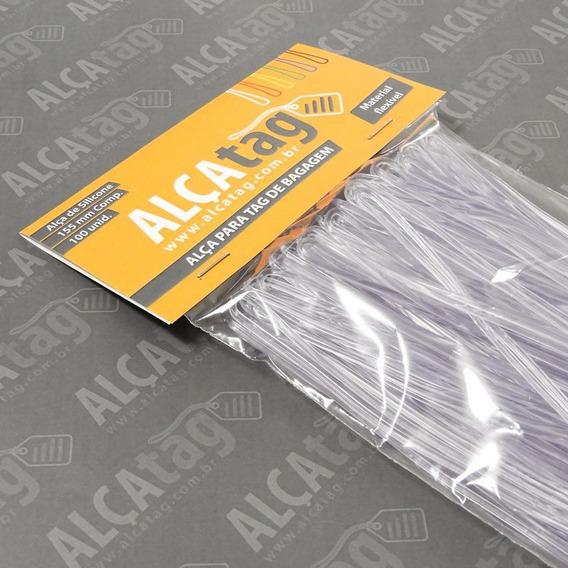 Alça Tag Bagagem Silicone - 16 Cm - Transparente 100 Und