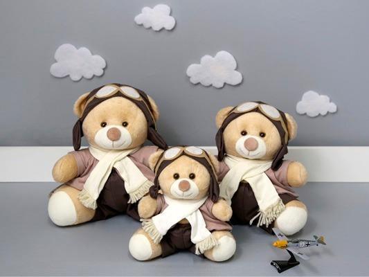 Trio Ursos Nicho Aviador Principe Marinheiro 15cm 18cm 22cm