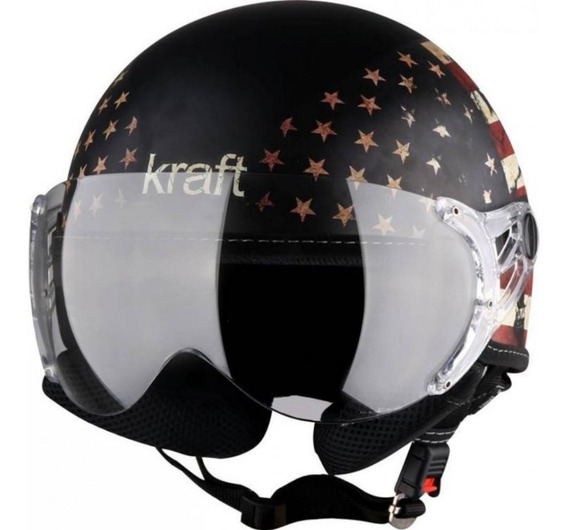 Capacete Aberto Kraft Plus Usa Eua Bandeira Estados Unidos