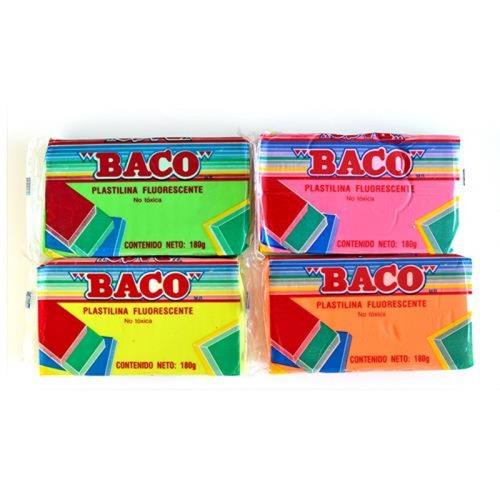 Plasticina Fluo Baco Barra 180gr 4 Col.