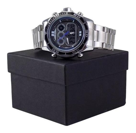 Relógio Masculino Sportivo Original Aço Qualidade C/ Caixa