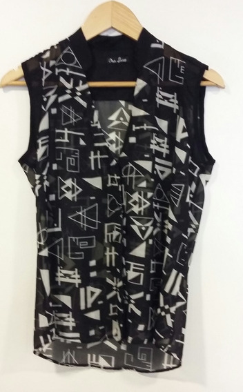 Camisa Negra Print Étnico Ona Saez Talle 1/s