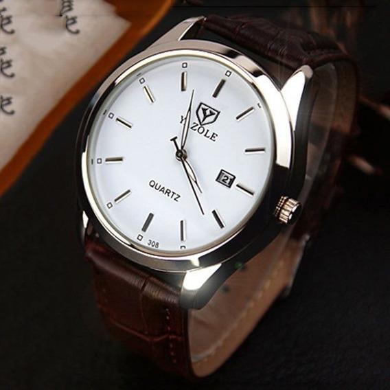Reloj Para Hombre Elegante Acero Vidrio Blanco Con Calendario