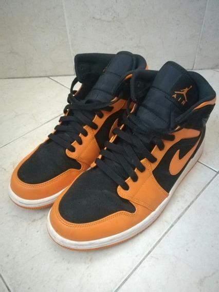 Zapatillas Nike Air Jordan 1 Mid Naranjas Usadas