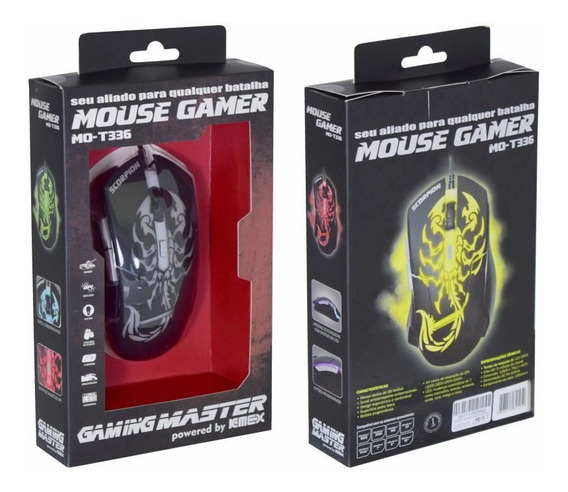 Mouse Usb Gamer K-mex Preto Mo-t336 Com Led