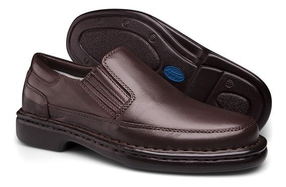 Sapato Social Couro Antistress Diabeticos Confortavel Luxo