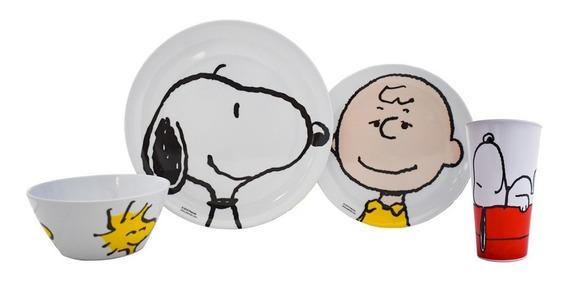 Vajilla Melamina Snoopy Charlie Brown 4 Piezas