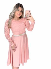 Vestido Midi Godê Manga Longa Moda Evangelica + Cinto Brinde
