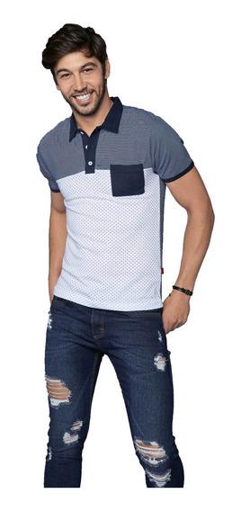 Playera Polo Blanca Azul Con Bolsillo Dibujo Rayas - Puntos
