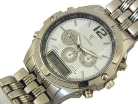 Relógio De Pulso Potenzia Prata Com Pulseira Em Aço B5662