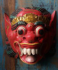 Mascara Bali Barong Original Esculpida Madeira Munddibr 68