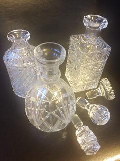 Licorera De Cristal Cortado Antiguas Son 3 Brindis Boda