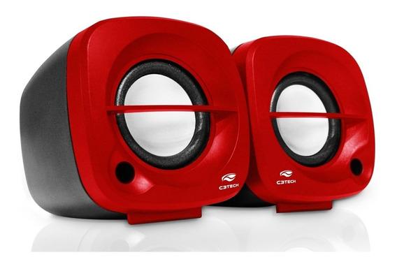 Caixa De Som C3tech Sp-303rd 3w Vermelha Pc Note P2