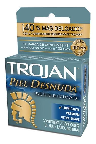 Condón Piel Desnuda Sensibilidad Pack 3 Piezas Trojan