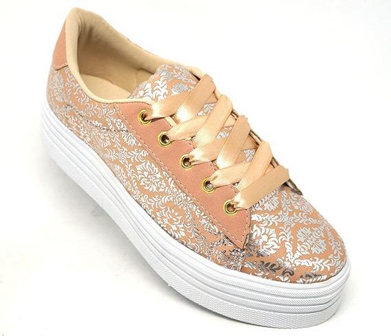 Tênis Feminino Doma Shoes Plataforma Rosê Floral