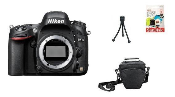 Corpo Nikon D610 Fullframe + 32gb + Bolsa + Tripé Sem Juros