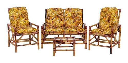Jogo De Sofá De Bambu Poltronas Cadeira De Vime Bambu