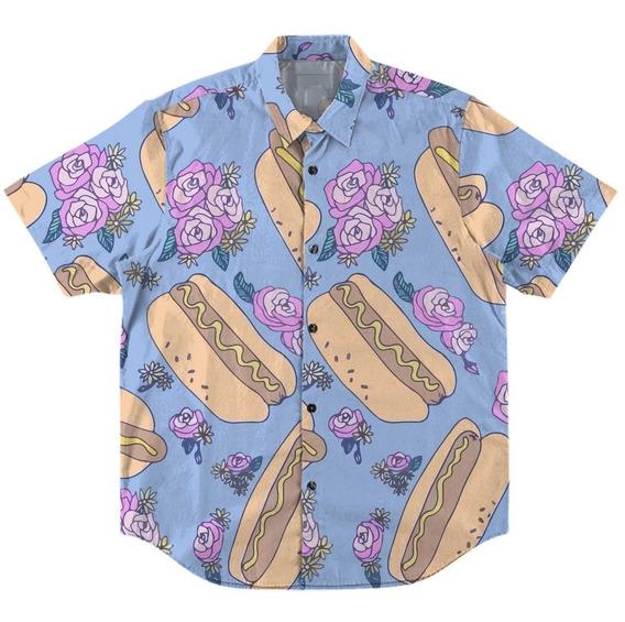 Camisa Com Botão Estampada Swag Hot-dog Floral