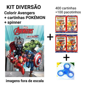 Kit 400 Cartinhas =100 Pactes Pokemon +spiner+ Vingadores Co