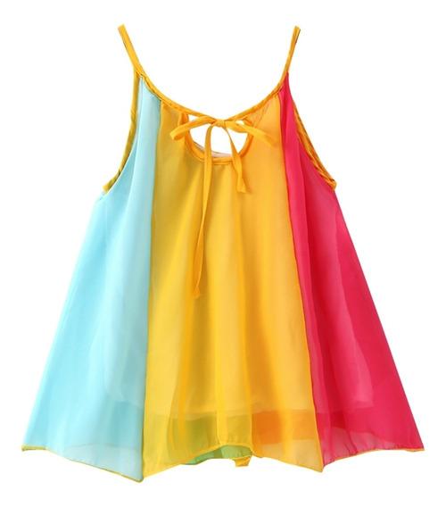 Bebê Menina Arco-íris Conjunto Vestido Sem Mangas Verão Prai