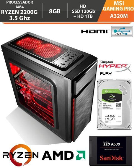 Pc Gamer Ryzen 3 2200g 3.5ghz 8gb A320m Am4 Ssd120gb+ Hd 1tb