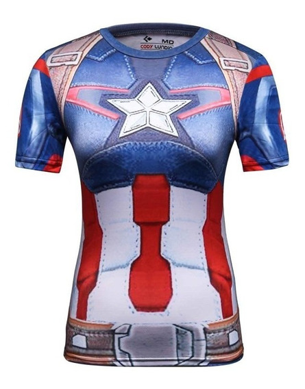 Camiseta Playera Capitan America Dama Super Heroes Gym