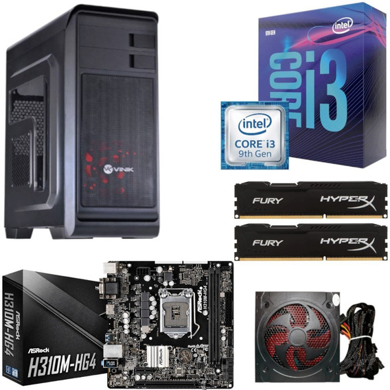 Kit Hunter Intel I3 9100f H310m Hg4 Hyperx Hx 16gb Bc500