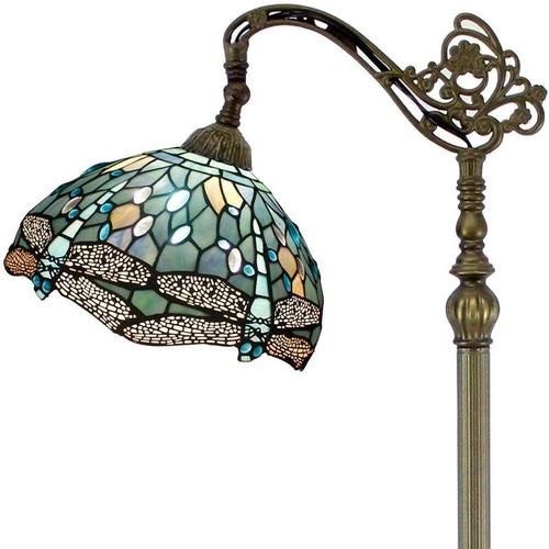 Lámpara De Pie Estilo Tiffany Vitral Azul Marino