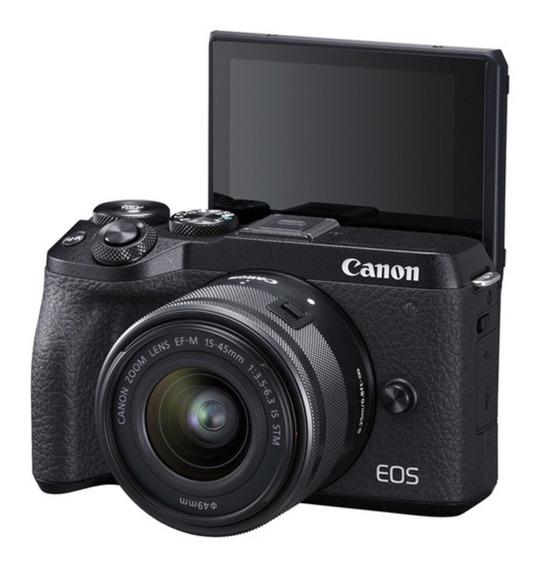 Canon Eos M6 Mark Ii 4k + Lente 15-45 Mm | Garantia 2 Anos