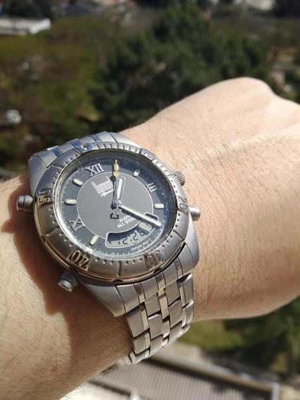 Incrível Relógio Dumont Aquastar Digital E Analógico Em Aço