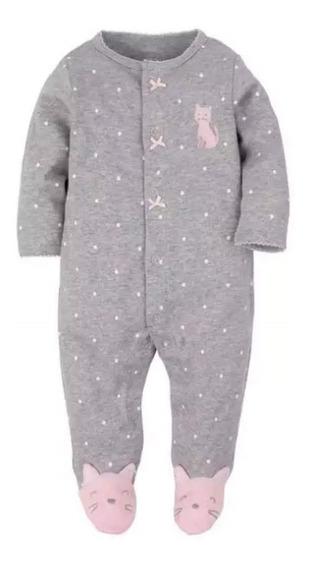 Macacão Bebê Fleece Soft Com Pé Gatinha
