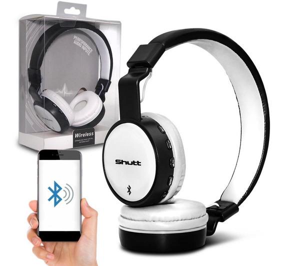 Fone De Ouvido Headphone Full Wireless P2 Preto Branco Shutt