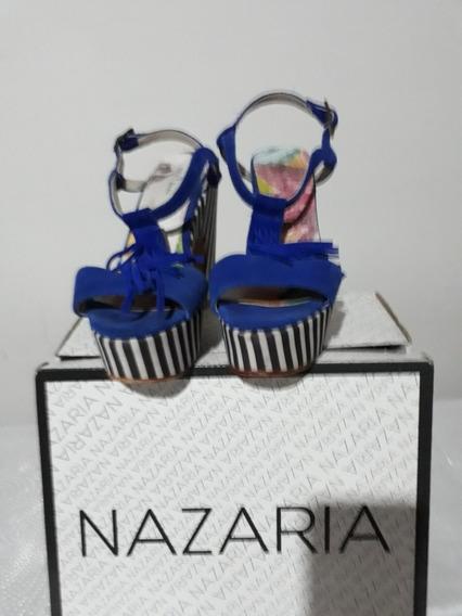 Sandalias Azul Con Rayas Blanco Y Negro Talle 37,usado