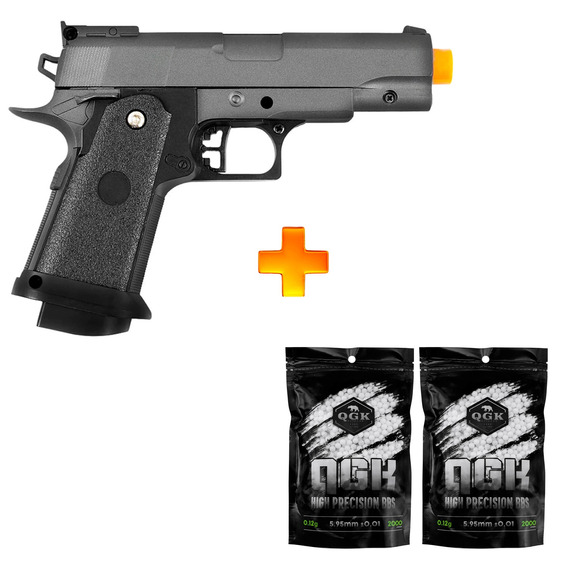 Pistola De Airsoft Spring G10 Modelo 1911 Baby Full Metal 6mm - Galaxy + 4000 Bbs 0.12g U Unica Unica