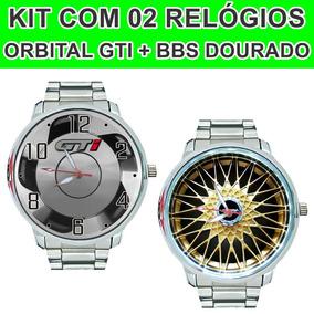 Relógio Pulso Orbital Gti + Relógio Roda Bbs Dourada Borda