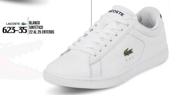 Tenis P/dama Lacoste Original Blanco Piel Casual