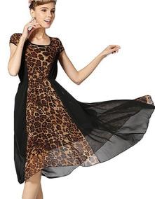 Vestido Negro Largo Animal Print Gasa Ap10