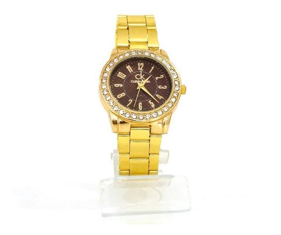 Relógio Feminino Calvin Klein Dourado Com Strass