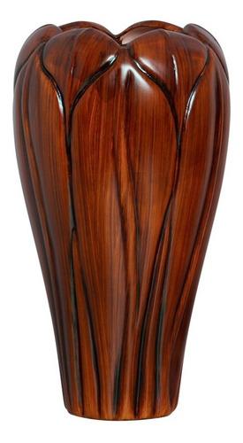Vaso Alto Folha Em Cerâmica Marrom P/ Sala 34x16 Cm