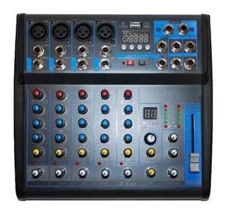 Mixer Parquer 6 Canales Bluetooth Y Phanton Power +48v