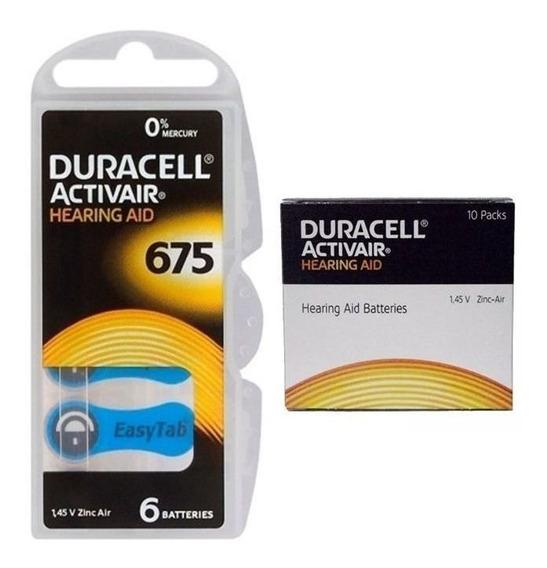 06 Pilhas Baterias Da 675 Pr44 Aparelho Auditivo - Duracell