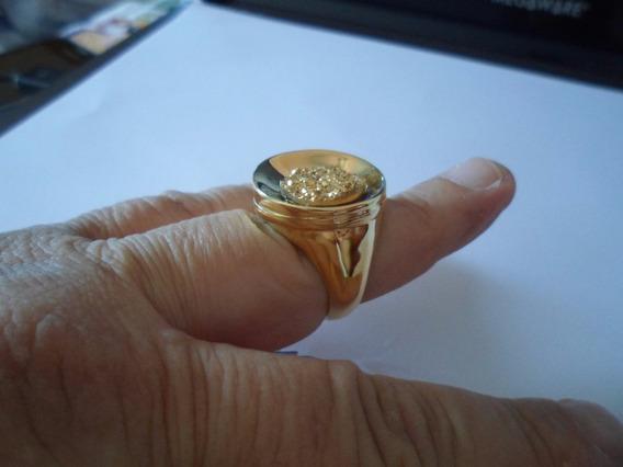 Anel Drusa Dourado Semijoia Redondopedra 1,4cm Tamanho24