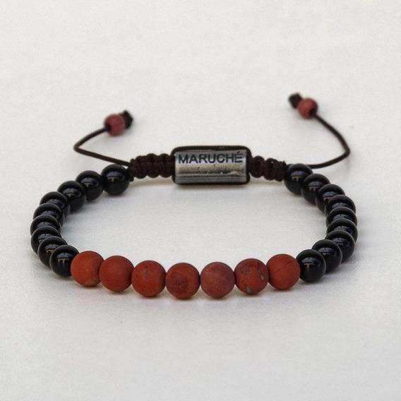 Pulseira Beads Ônix E Jaspe Vermelha
