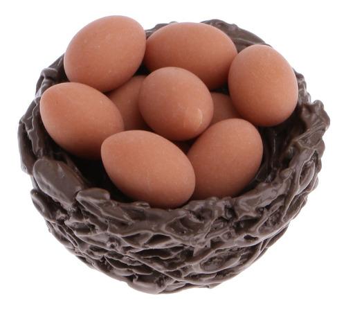 Imagen 1 de 6 de Nido De Pollo Miniatura Con 10 Huevos Para Casa De Mu?ecas